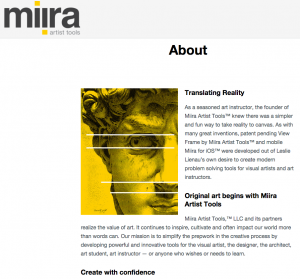 Miira Artist Tools – website content and direction